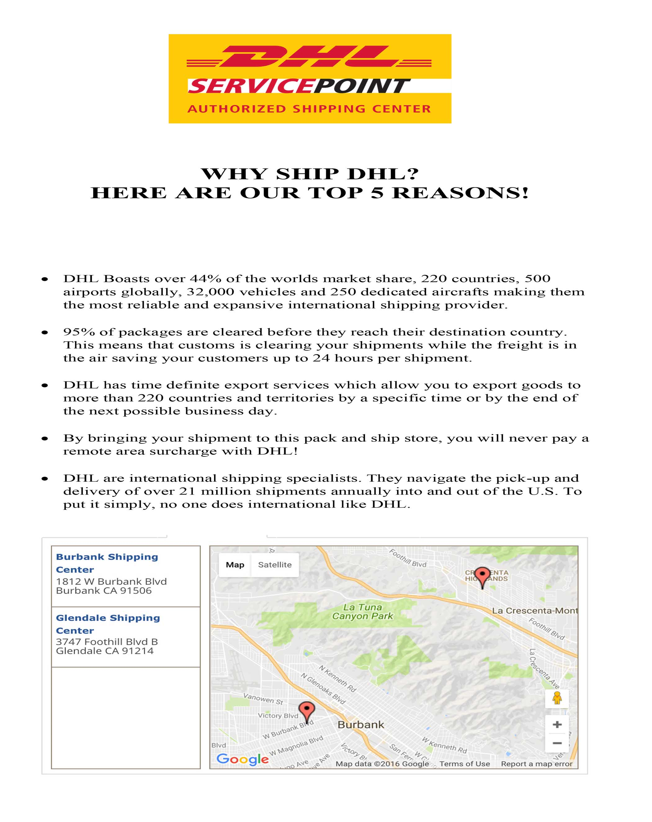 Dhl Locations Near Me >> Dhl International Shipping Burbank Ca Burbank Shipping